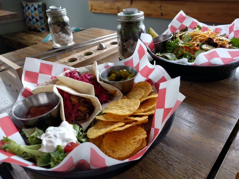 Burnt Timber Brewing brisket tacos and house salad