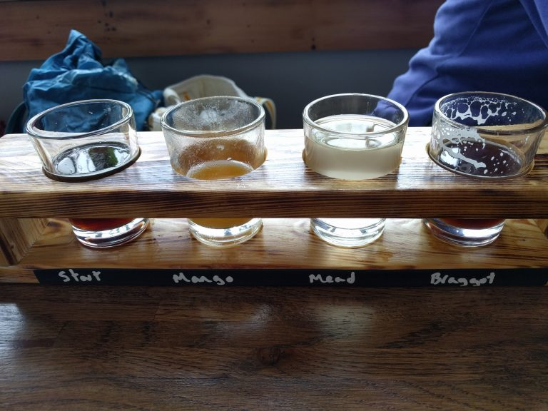 Burnt Timber Brewing flight with beer and mead