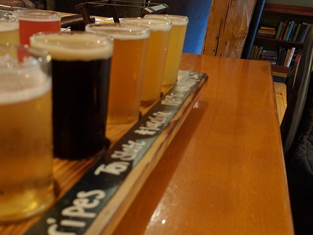 A flight of craft beers