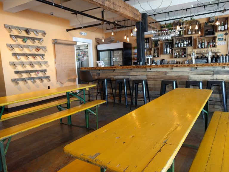The Lone Wolfe Brewing Company bar and dining area (taproom)