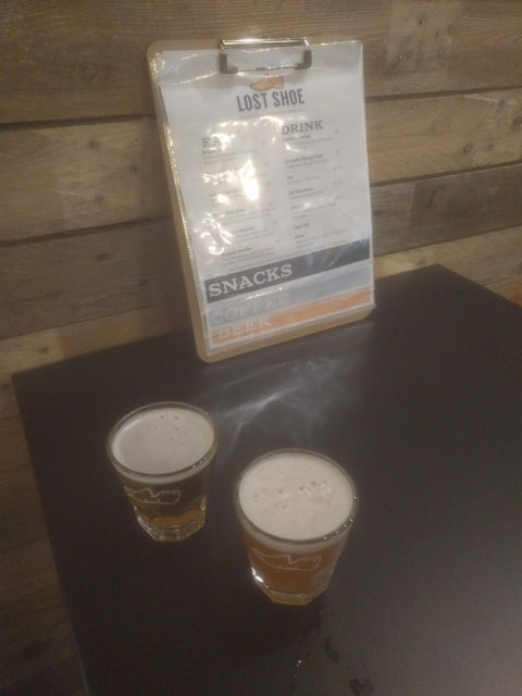 Craft beer pours at Lost Shoe Brewing