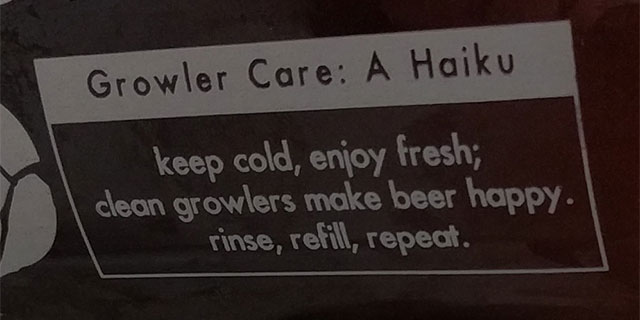 Norway Brewing Growler haiku